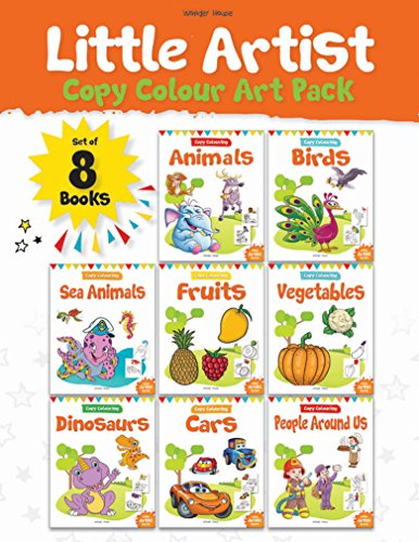 Little Artist Copy Colouring Pack: Set of 8 books (Birds, Sea Animals, Fruits, Vegetables, Dinosaurs, Cars and People Around Us)