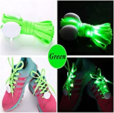 Jern Cool Fashion Light up Led Shoelaces Flash Party Skating Glowing Shoe Laces for Boys Girls Fashion Self Luminous Shoe Strings (Green)