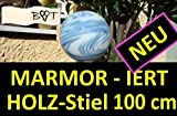 Feine 18 cm Gartenkugeln 1m Stiel hellblau weiss GKM aus massiv Glas Gartenkugeln Rosenkugeln
