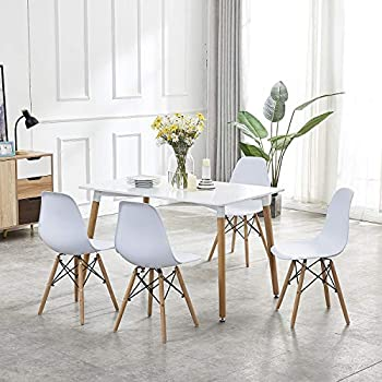 Remarkable Gizza Wood Rectangular Dining Table And 4 Eiffel Style Chairs Set For Kitchen Breakfast Living Lounge Restaurant Furniture White Ncnpc Chair Design For Home Ncnpcorg