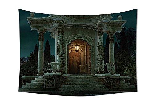 Elfenbein-schlafzimmer-möbel (Gothic House Decor Wandteppich für römischen Pavilion Laterne Ivy auf Säulen unter Dome Mittelalter Architektur Mystic Thema Schlafzimmer Wohnzimmer Wohnheim Dekor Elfenbein dunkel, multi, 90.5W By 59L Inch)