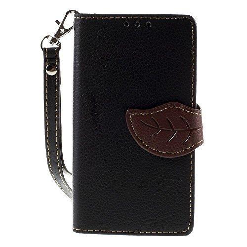 [A4E] Handyhülle passend für Sony Xperia Z5 Compact Kunstleder Tasche, Flip Cover, seitlicher Magnetverschluss, Standfuß, Kreditkartenfächer, Handschlaufe, mit floralem Blatt Muster (schwarz, braun)