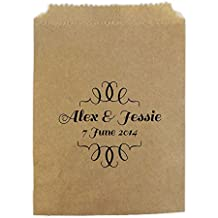 Personalised Wedding Sweet Bags CURLY BORDER THIN Candy Cart Wedding Favours Confetti Engagement (30, Brown kraft)