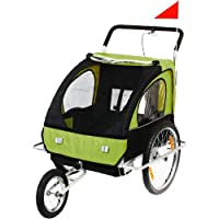 SAMAX 56640014, SAMAX Children Bike Trailer 2in1 Kids Jogger in Green/Black - Silver Frame (Sports & Outdoors)