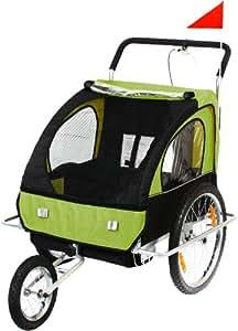 SAMAX Fahrradanhänger und Jogger 2 In 1, green black, 56640014