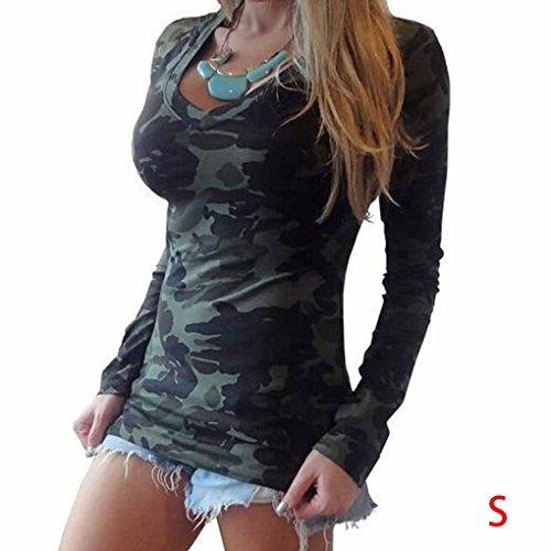 Frauen Langarm Camouflage Print Bluse V-Ausschnitt Casual T-Shirt Bluse Top Minzhi (Sandalen Mädchen Glatte)
