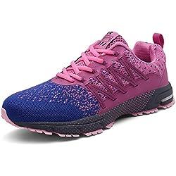 SOLLOMENSI Zapatillas de Mujer Deporte Running Zapatos para Correr Gimnasio Sneakers Deportivas Padel Transpirables Casual Montaña 39 EU A Rosa
