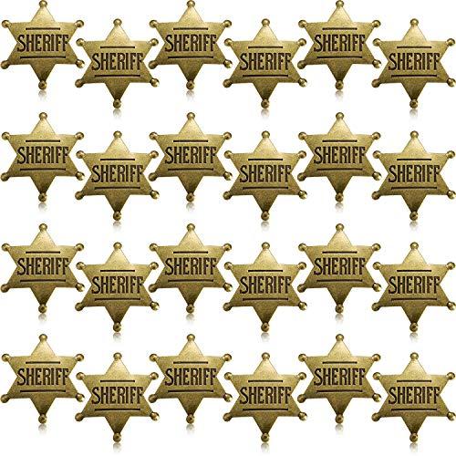 Sheriff Kostüm Halloween - WILLBOND Metall Sheriff Abzeichen Bronze Western Cowboy Abzeichen Stellvertretender Sheriff Spielzeug Abzeichen für Halloween und Party Gefallen Kostüm Requisit (24 Stücke)