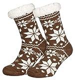 Piarini 1 Paar Kuschelsocken mit ABS Sohle   warme Damen Socken   Wintersocken mit Anti Rutsch Noppen   Eiskristall- Violett (One-Size)