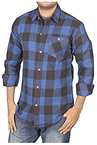 Men's Shirts Check Work Flannel Brushed Cotton Buffalo Long Sleeve