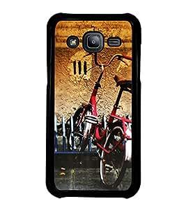 Fuson Designer Back Case Cover for Samsung Galaxy J7 J700F (2015) :: Samsung Galaxy J7 Duos (Old Model) :: Samsung Galaxy J7 J700M J700H (cycle Bicycle Red Cycle Old Vintage)