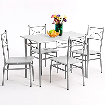 "Furniture set ""Paul"" 5 pcs - white - 1 table & 4 chairs - Dining set kitchen"