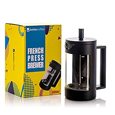 Better Coffeer French Press Coffee Maker: 600ml Capacity for 2 Mugs or 4 Cups - Brews Loose-Leaf Tea and Froths Milk - Sleek, Insulated Coffee Press for Full Flavour - Hot and Cold Brew Coffee Maker by Better Coffeer