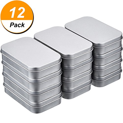 12 Pack 3.75 by 2.45 by 0.8 Inch Silver Metal Rectangular Empty Hinged Tins Box Containers Mini Portable Box Small Storage Kit, Home Organizer
