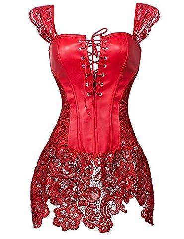 Robe bustier corset sexy pour femme en simili cuir à lacets - Rouge - 42