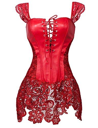 Damen Gothic korsett für Damen sexy Bustier Korsett Kunstleder zum Clubwear Korsagenkleid Red UK Size 14-16 2XL (Cosplay Shop Uk)