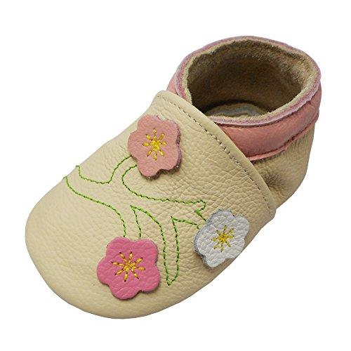 Yalion Baby Mädchen Weiches Leder Lederpuschen Kleinkinder Krabbelschuhe mit Süßen Blumen Beige,24-36 Monate
