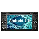 YINUO 7 pouces 2 Din Android 7.1.1 Nougat 2GB RAM Quad Core écran tactile Autoradio Lecteur de DVD GPS Navigation avec Bluetooth 7 couleurs Button illumination Autoradio Support DAB/Bluetooth/Contrôle Volant/AV-IN/1080p pour Ford C-Max/Connect/Fiesta/Focus/Fusion/Galaxy/Kuga S-Max/Transit/Mondeo, Noir (Autoradio)