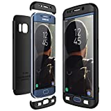 CE-Link für Samsung Galaxy S6 Edge Hülle Hardcase 3 in 1 Handyhülle Ultra Dünn Hartschale 360 Grad Full Body Schutz Schutzhülle Bumper - Schwarz