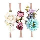 Hunpta 3PC Baby Blumen Partei Kopf Zusätze Stirnband Baby Elastische Blumen Kopfbedeckung (B)
