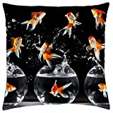Free-shipping Gold Fish in an aquarium - Throw Pillow Cover Case (18