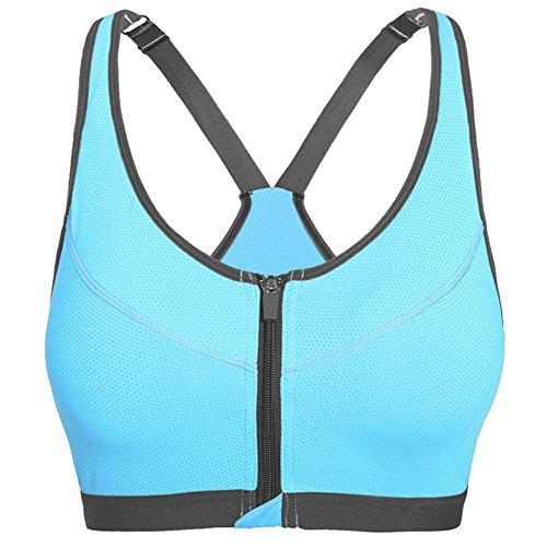 Molie Sport éclair en avant des femmes Push Up Bra Courir Vest Bleu