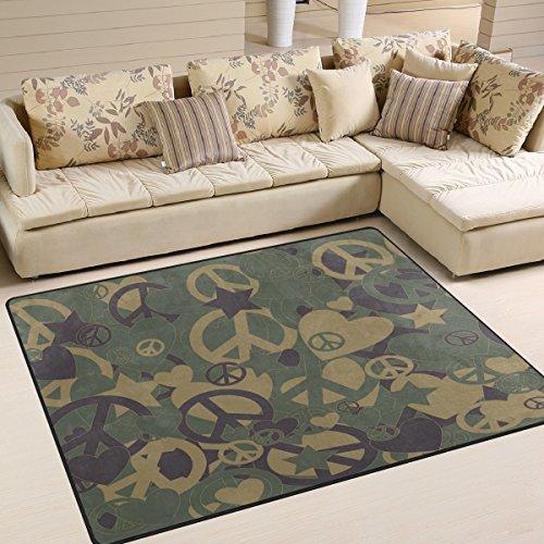 Domoko Military Camouflage Peace Zeichen Liebe Herz Bereich Teppich Teppiche Matte f¨¹r Wohnzimmer Schlafzimmer, Textil, Mehrfarbig, 203cm x 147.3cm(7 x 5 feet) -