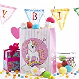 12 Pack Unicorn Kids Birthday Favor Party Bags, for Favors, Gifts, Goodies, Candy and Treats! Cute and Unique Unicorn and Rainbow Design on All 4 Sides!