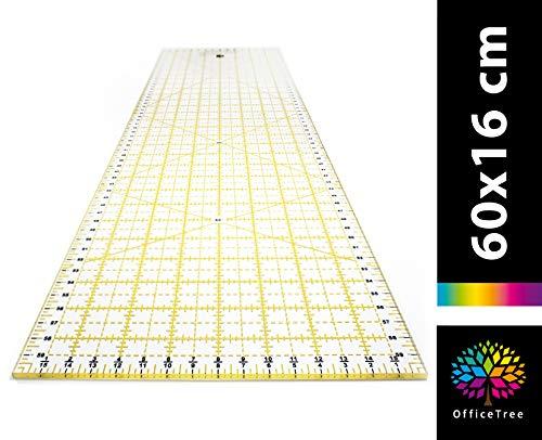 OfficeTree® Nählineal - Universallineal zum Nähen und Basteln mit exakten Abmessungen und Zuschnitten - Rollschneiderlineal transparent - 60 cm x 16 cm großes Quilt