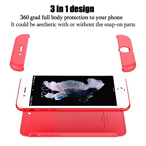 iphone 6/6 plus Coque Pacyer® Protection Dur PC 3 en 1 Full Cover 360 Housse Mince Bumper Etui Accessoires Anti-rayures Mat Anti-Rayures Pour iphone 6s/6s plus Rouge