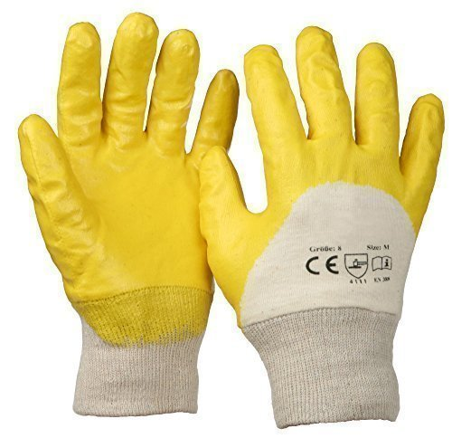 Guantes de nitrilo 12pares amarillo tamaño 8M con puño de punto.
