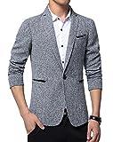 Herren Lässig EIN Knopf Slim Fit Blazer Anzugjacke Sakko (XL, Grau)