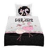 Leonado Vicenti bettwäsche mikrofaser 135x200 cm Fotodruck gestreift Schleifen Blumen Flamingo Weiß Schwarz Pink Rosa 5 TLG. mit Bettlaken 180-200x200 cm