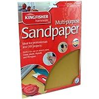 60, 80, 100 & Sandpaper. Kingfisher 120 fogli di carta vetrata, confezione da 24, colori assortiti