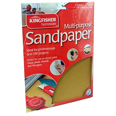 60, 80, 100 &120 Grade Sandpaper. Kingfisher 20 Sheets Assorted Sandpaper