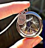 Catena d'argento sterling Medaglione galleggiante Dente di leone desiderio Collana con CONFEZIONE REGALO - tarassaco Ciondolo per le ragazze regalo di compleanno