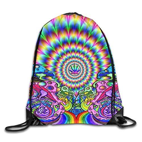 JMAKI Dye Tie Weed Art Cute Turnbeutel Hipster Sporttaschen,Unisex Gym Sack Beutel Totem Geometrisches Muster Sportbeutel Tüte Rucksack mit