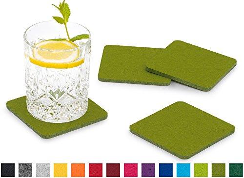 FILU Filzuntersetzer eckig 8er Pack (Farbe wählbar) grün - Untersetzer aus Filz für Tisch und Bar als Glasuntersetzer / Getränkeuntersetzer für Glas und Gläser rechteckig viereckig