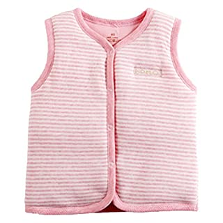 Baby 100% Cotton Warm Vests Unisex Infant to Toddler Light Padded Waistcoat (18-24 Months, Pink Stripe)