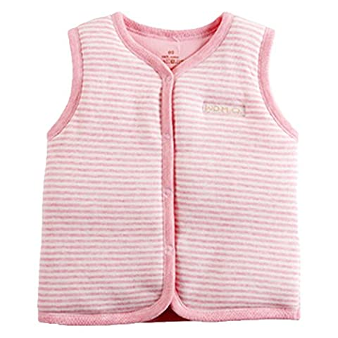 Monvecle Baby Organic Cotton Warm Vests Unisex Infant to Toddler Light Padded Waistcoat Pink Stripe