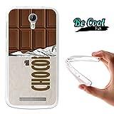 Becool® Fun - Funda Gel Flexible para Doogee Valencia 2 Y100 - Y100 Pro, Carcasa TPU fabricada con la mejor Silicona, protege y se adapta a la perfección a tu Smartphone y con nuestro exclusivo diseño. Tableta de chocolate