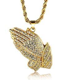 """Halukakah """"GEBET"""" Männer 18k Reines Gold überzogene umhüllende Hände hängende Halskette mit Kostenloser Seilkette 30 """""""