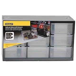 Stanley Kleinteilemagazin / Sortimentskasten (37x21x16cm, mit neun Schubladen, bruchfester Kunststoffrahmen, transparente Schubladen, geeignet für Wandmontage) 1-93-978