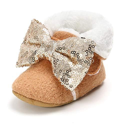 WEXCV Baby Mädchen Schuhe Winter Warm Sequin Bow Plüsch Anti-Rutsch-Weiche Booties Schneeschuhe Freizeitschuhe + Bow Sequin Haarband 2 StüCk Outfits für 0-15 Monate - Schaffell Baby Booties
