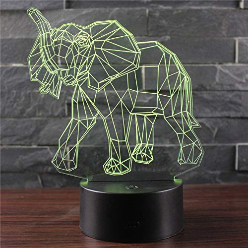 3D Optisches Nachtlicht Nachttischlampe Für Kinder LED Tischleuchte Dekoratives Licht 7 Farben Andern Touch Switch Acryl USB Crack Basis Sternenlicht Elefant