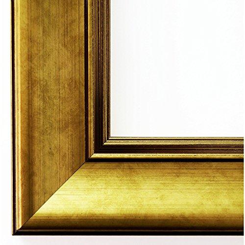 Wandspiegel Spiegel Badspiegel - Flensburg 5,5 - Gold - 60 x 80 - Außenmaß inkl. Massivholz-Rahmen - viele Größen verfügbar - Modern, Barock, Antik, Vintage, Landhaus