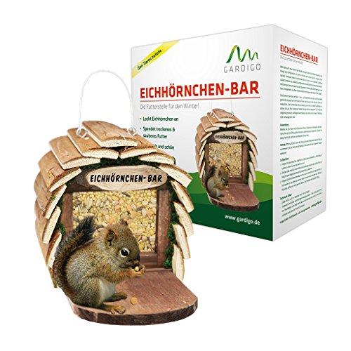 Gardigo Eichhörnchen-Bar Futterspender aufhängbares Futterhaus aus Holz naturfarben - 6