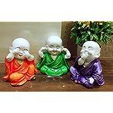 Karigaari India Colorful Set of 03 Laughing Baby Buddha Showpiece Figurine (Orange,Purple,Green)