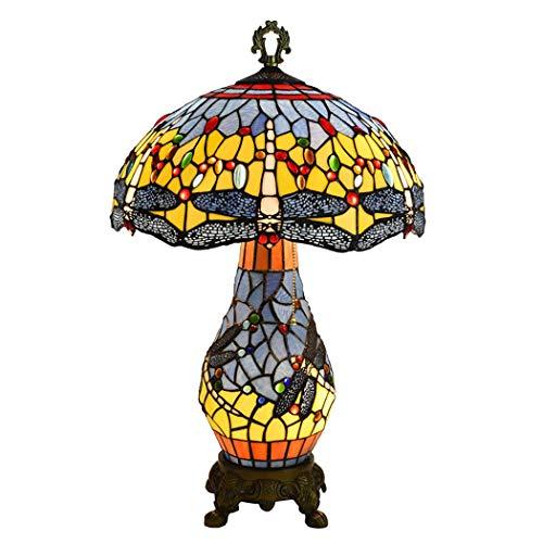 Litaotao Tiffany Style Libelle Tischlampe Lesetisch Neben Lampe Mit Farbigem Kristallglas Schreibtischlampe Für Wohnzimmer Schlafzimmer, 110-220V, E27 / E14