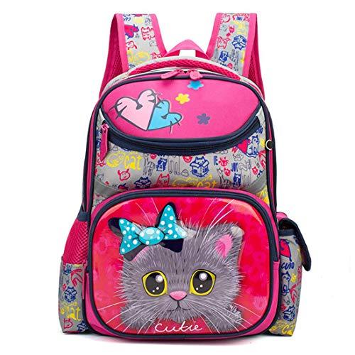 ZOUQILAI Grundschule Tasche Wasserdichte Rucksack Niedlichen Cartoon Katze Druck Rucksack 1-3-4 Grade Mädchen Belastung Ridge Große Kapazität Tasche